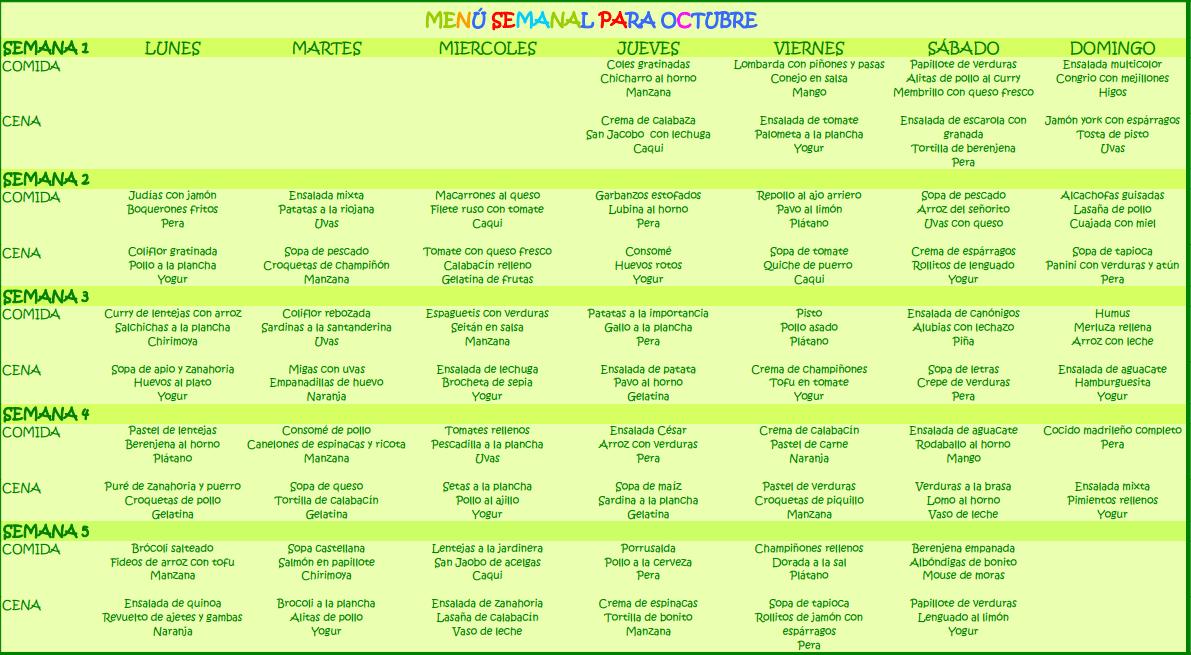 Men semanal para octubre - Menu semanal infantil ...